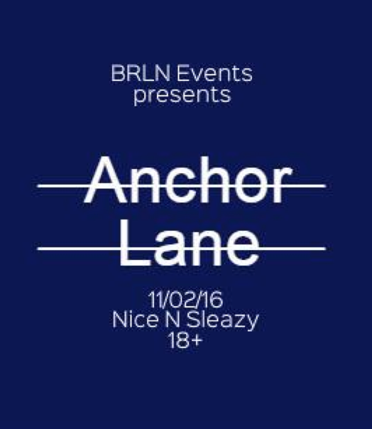 BRLN events presents : Anchor Lane + Pseudo Satellites + Deaf Rakket + Reality TV