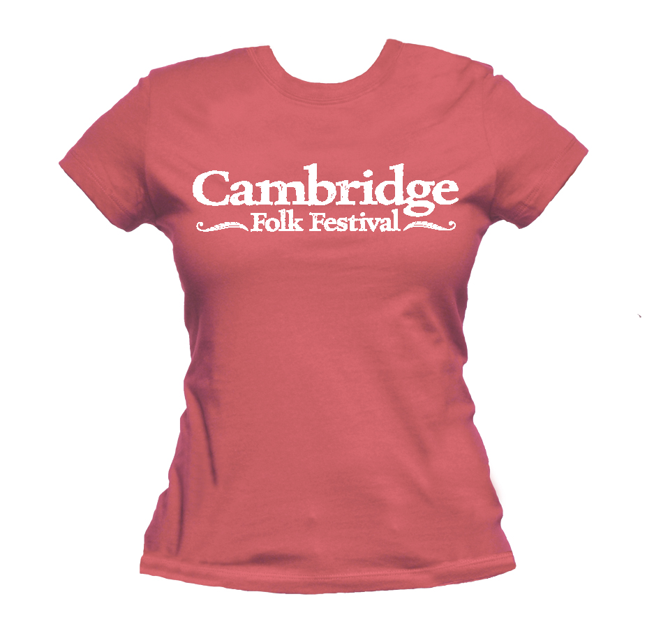 Ladies Cambridge Folk T-shirt (Coral) - Cambridge Folk Festival