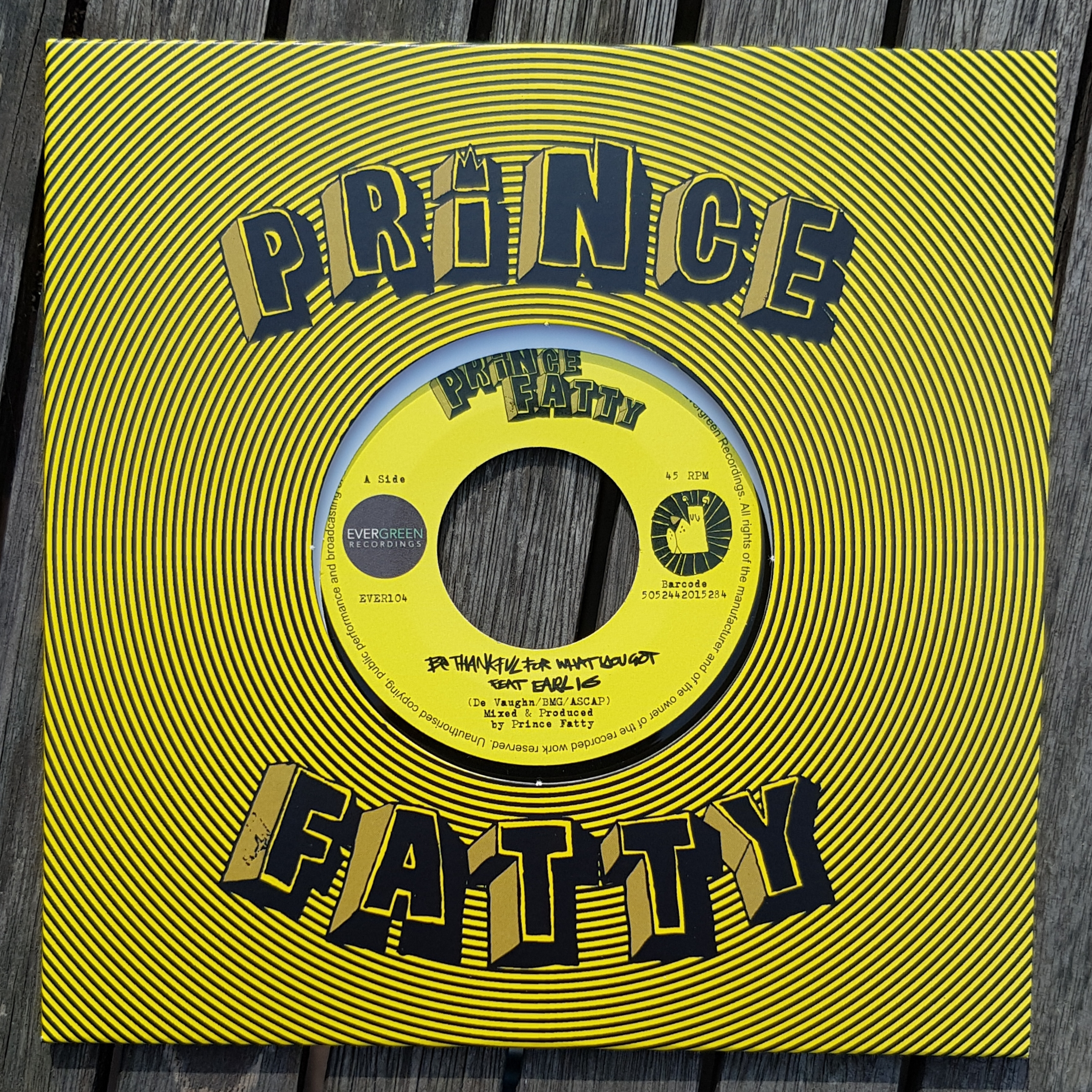 """Prince Fatty - Just Be Thankful For What You Got - 7"""" Vinyl + free WAV download - Prince Fatty"""