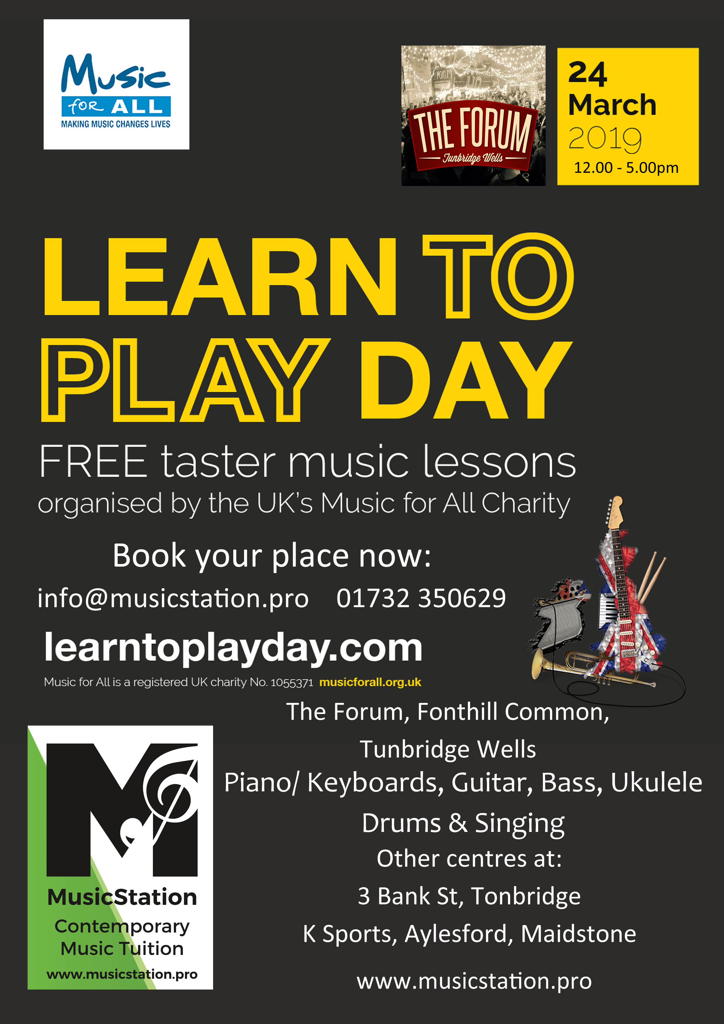 Learn To Play Day at The Forum, Royal Tunbridge Wells on 24 Mar 2019