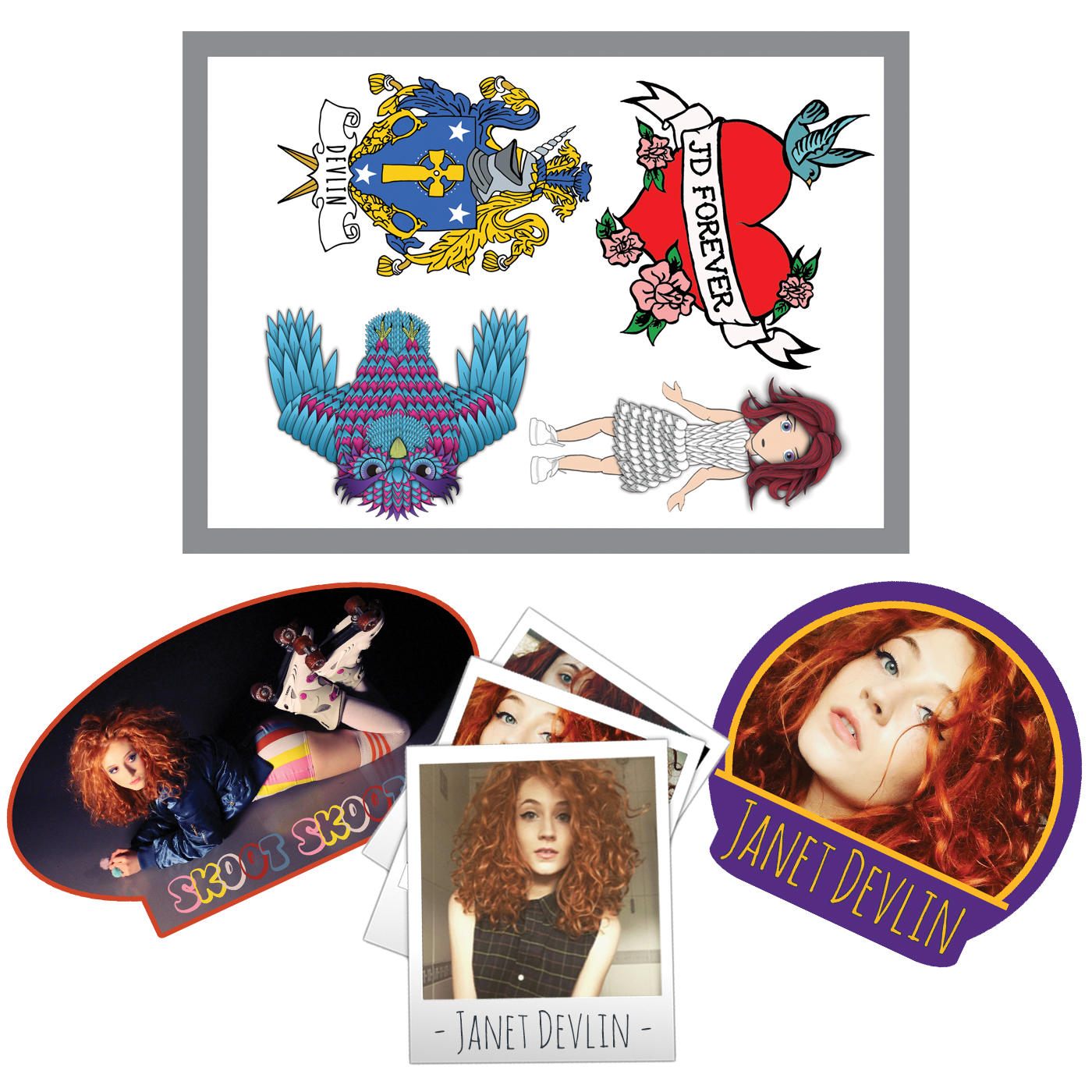 Temporary Tattoo and Sticker Pack - Janet Devlin