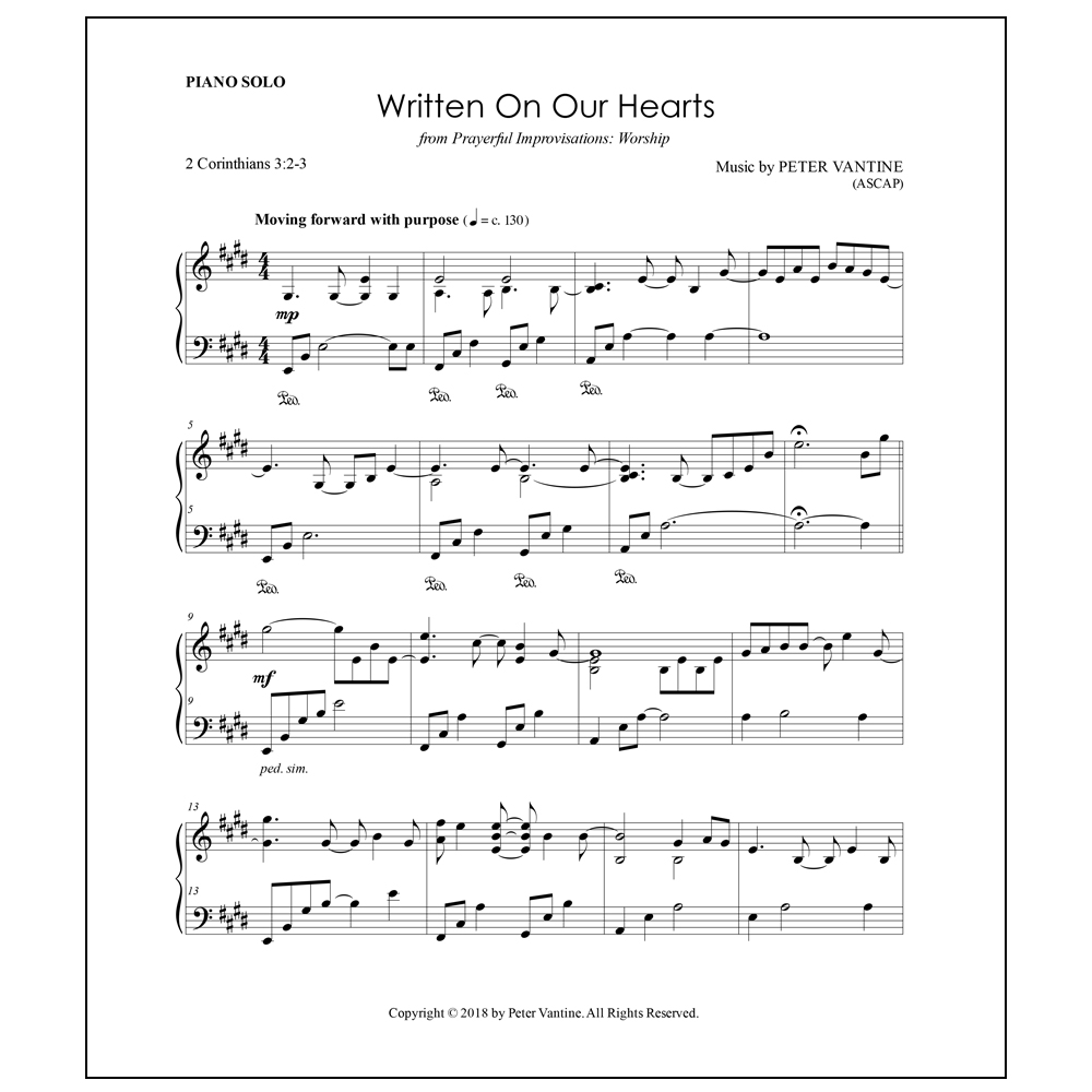 Written On Our Hearts (sheet music download) - Peter Vantine