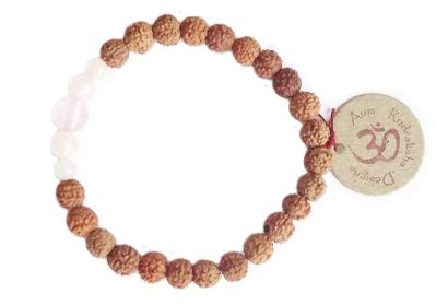 Aum Rudraksha Rose Quartz Bracelet - Deva Premal & Miten USD