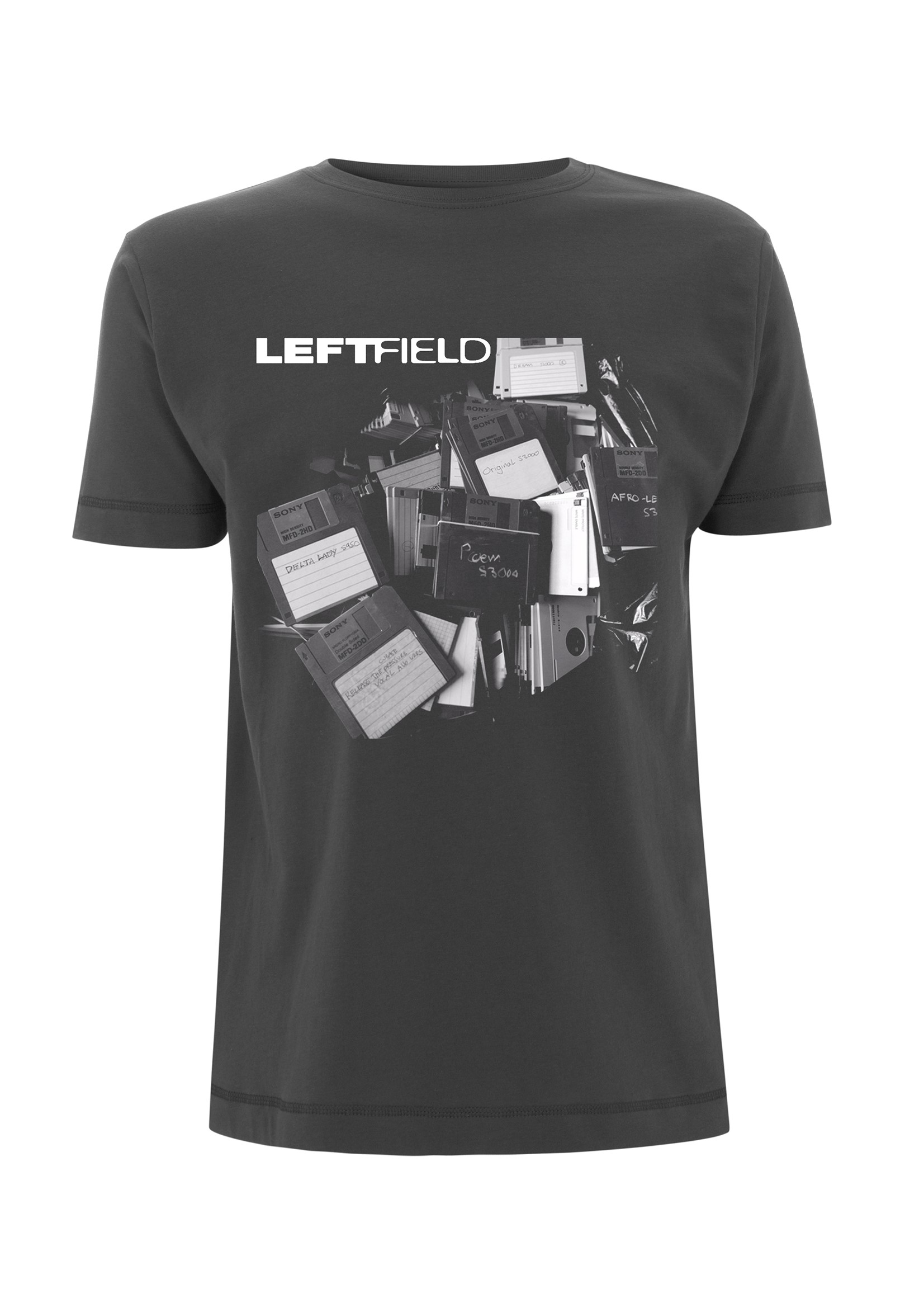 Floppy Discs – Charcoal Tee - Leftfield