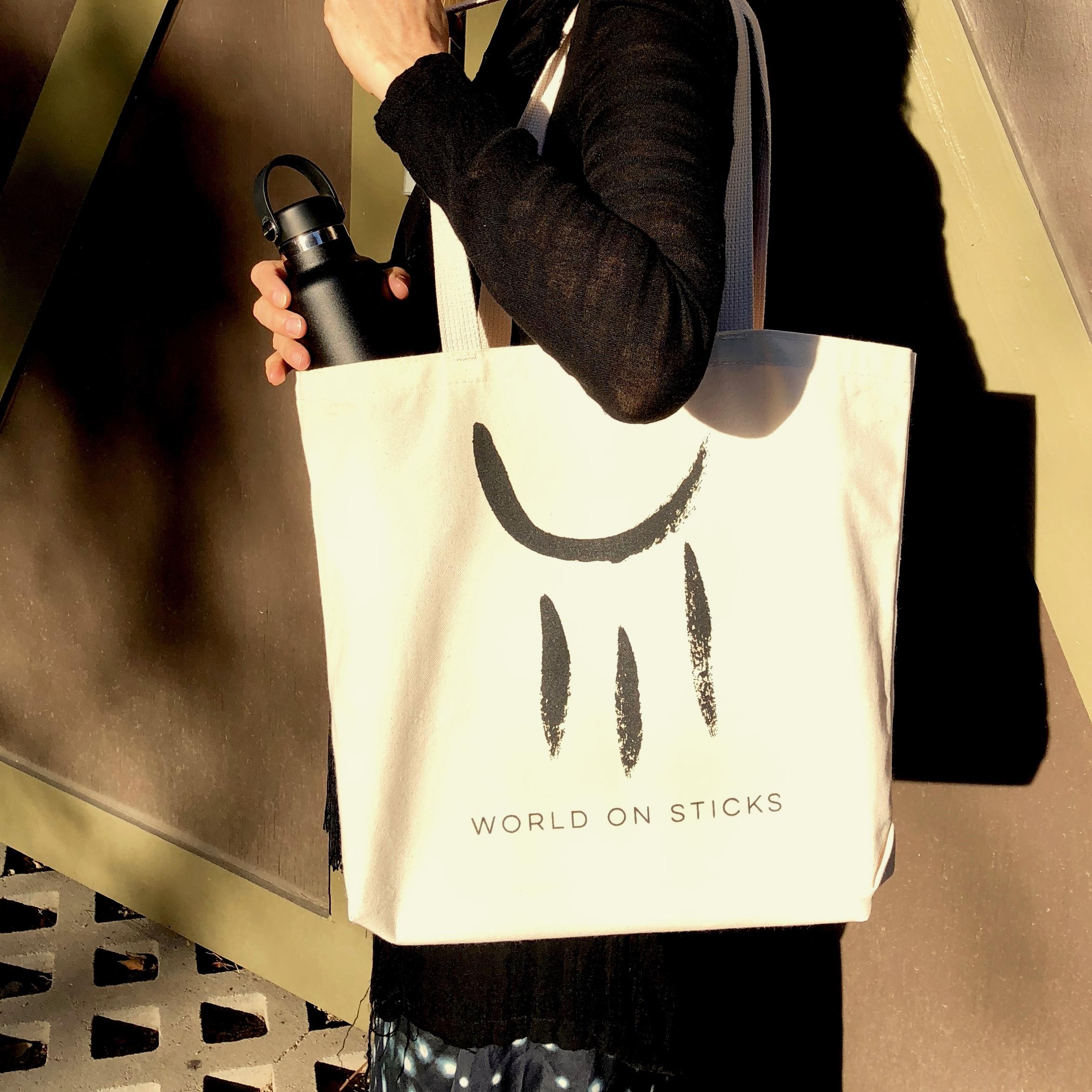 'WORLD ON STICKS' TOTE BAG - 100% ORGANIC COTTON - Sam Phillips