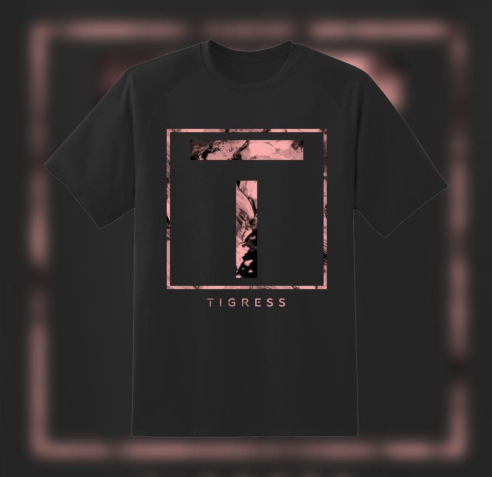 PINK T LOGO (BLACK) T-SHIRT - TIGRESS