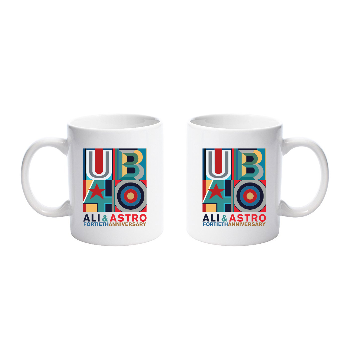 Ali & Astro Fortieth Anniversary White Mug - UB40
