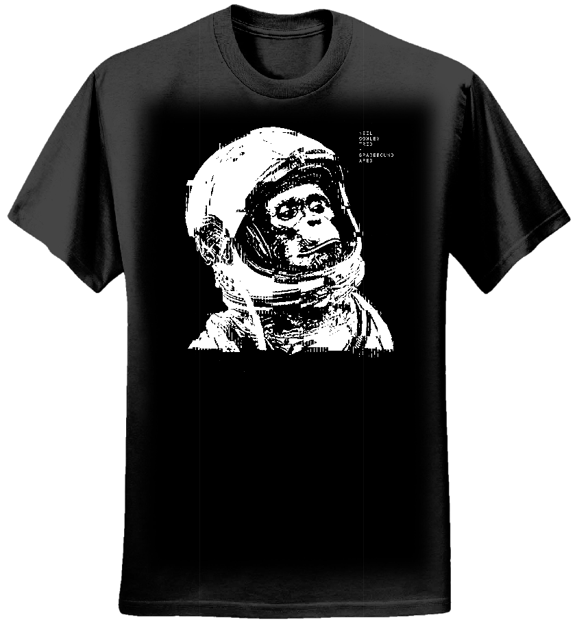 Spacebound Apes Black T shirt (Ladies) - neilcowleytrio