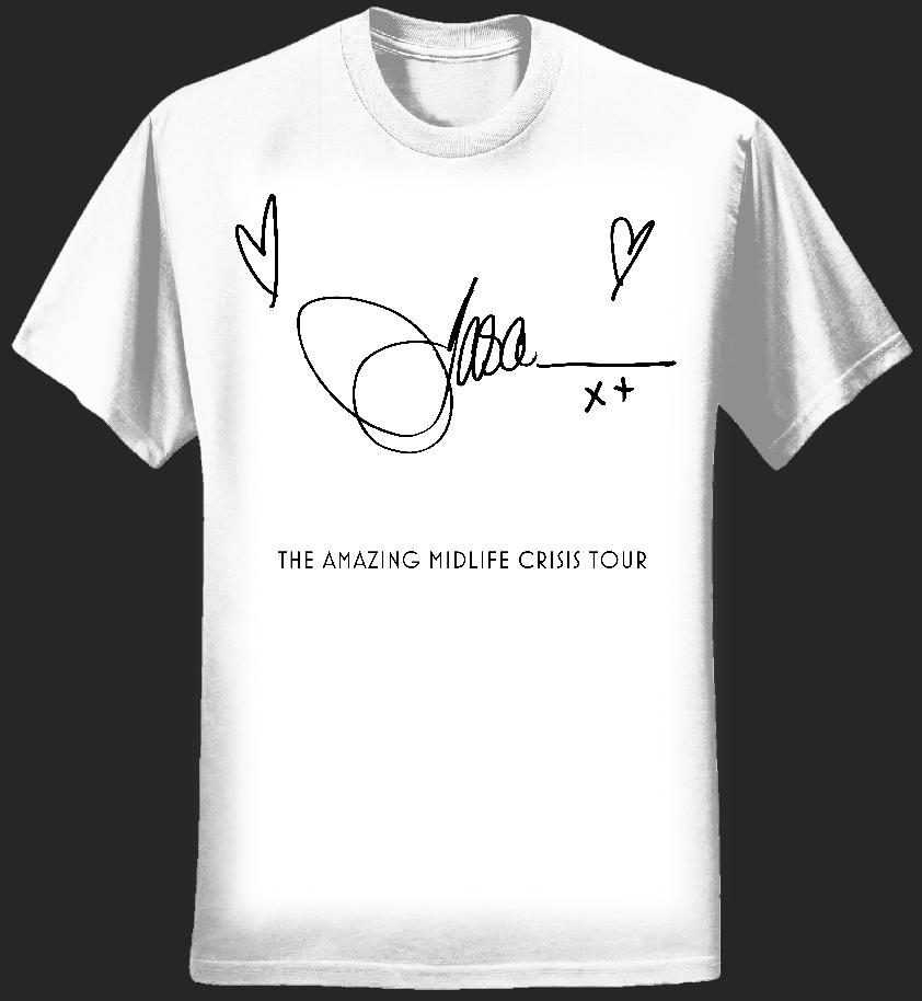 White Jason Donovan Midlife Crisis Signature Ladies T-Shirt - Jason Donovan